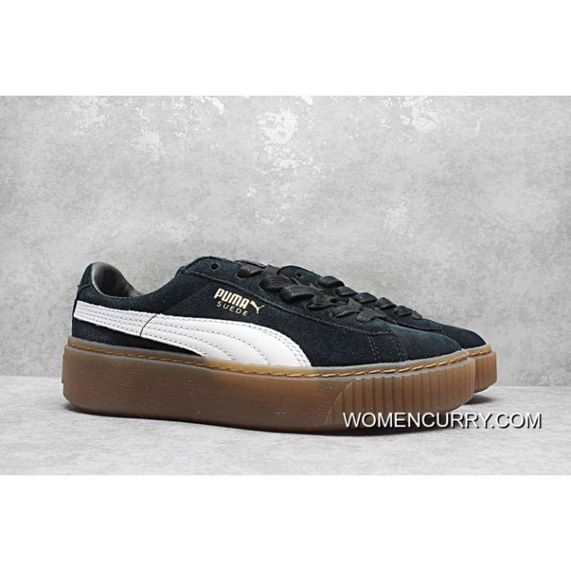 watch f5a09 5ffba Rihanna Puma Suede Platform Core Sneakers Full Grain Leather Lining 35 5-40  Black And White Authentic