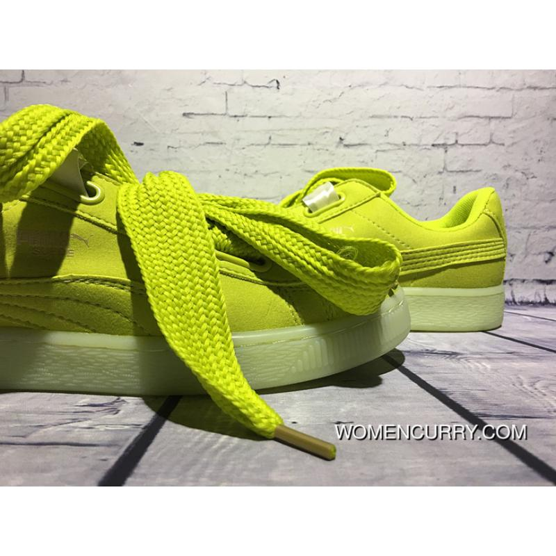 size 40 1319b e710a PUMA Valentine's Day Jelly Color Bow Tie Suede Heart Apple Green New Release