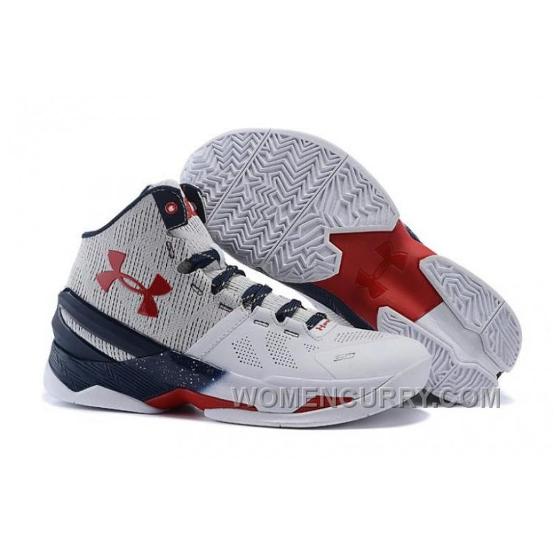 best service 0bbba 32597 Under Armour Curry 2 USA White-Red/Navy Blue For Sale New Release