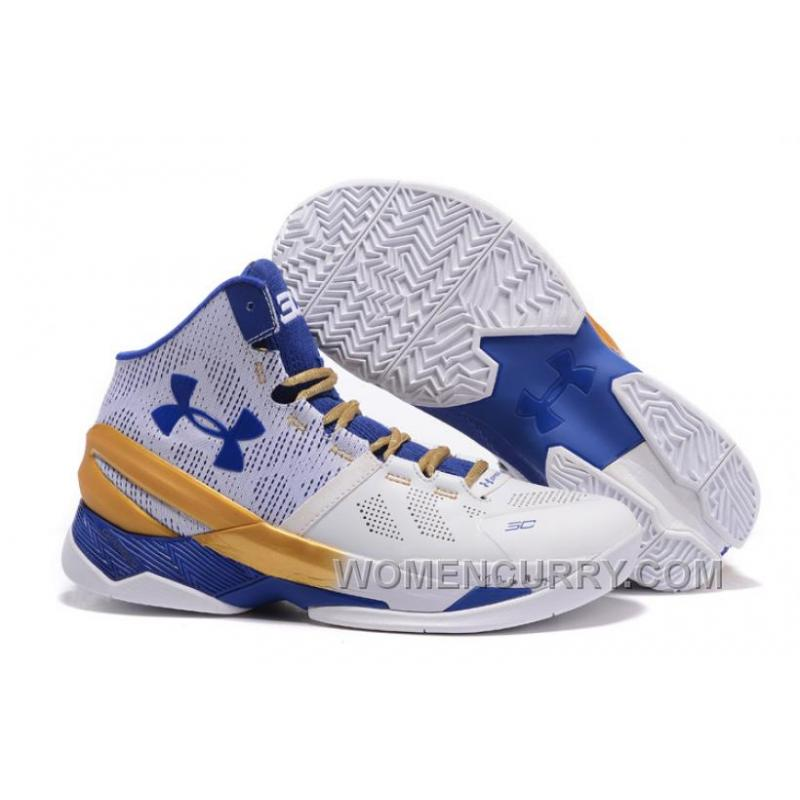 Under Armour Curry 2 White Blue Gold Shoes For Sale Xmas Deals ... 591de39c3230
