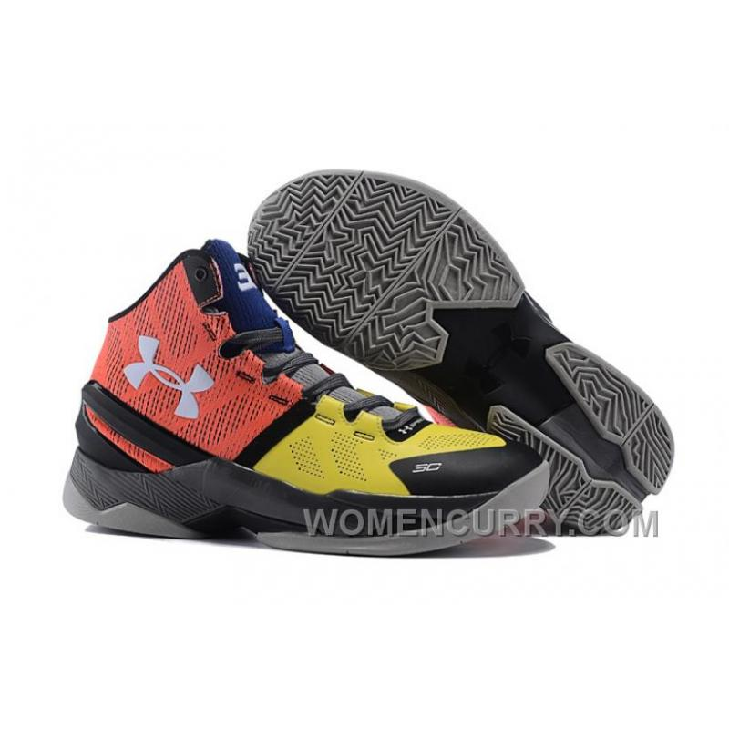 """fc9311d7c1a Under Armour Curry 2 """"I Can Do All Things"""" Black Yellow Red Shoes ..."""