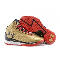 New Arrival Under Armour UA Curry One Gold Black Red Shoes For Sale