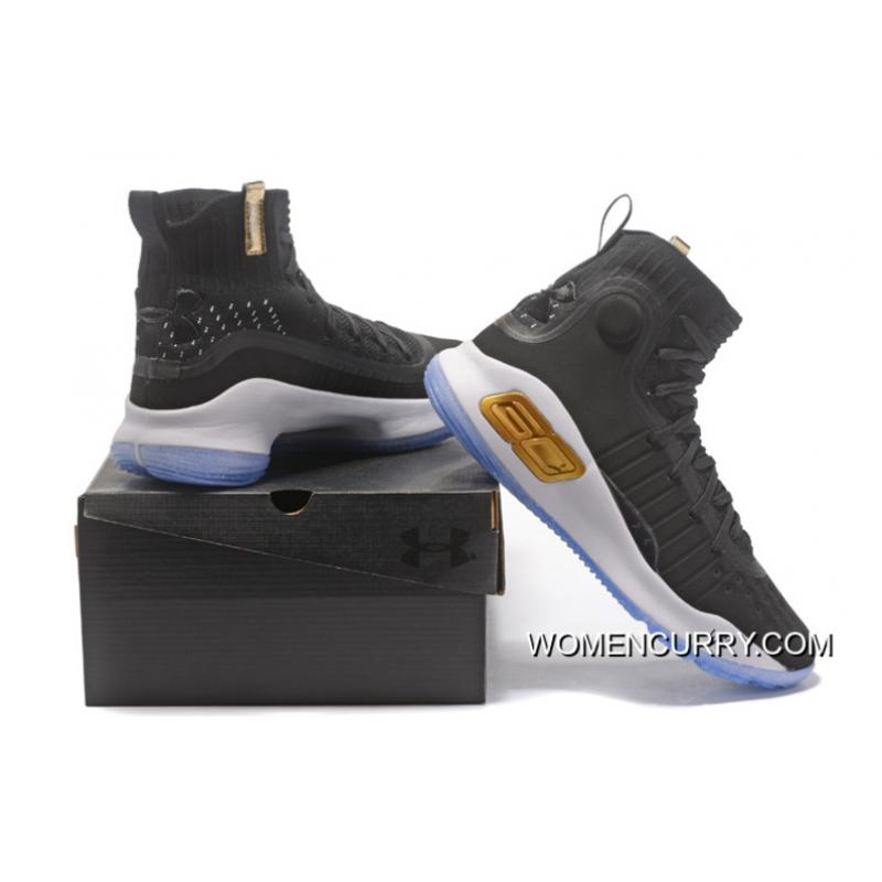 super popular ad74b 34238 Under Armour Curry 4 Basketball Shoes Black White Authentic