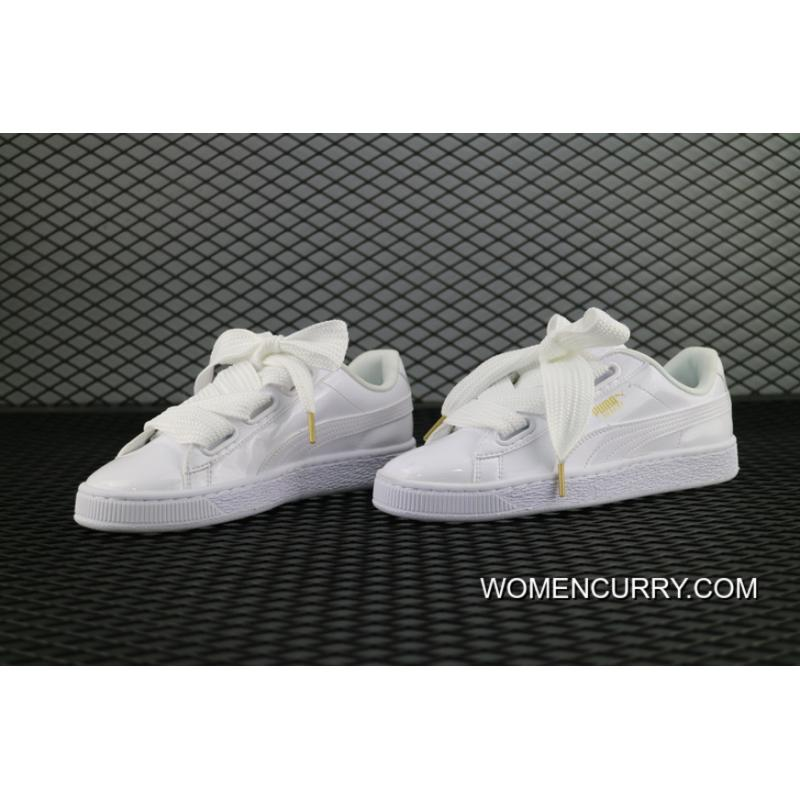 reputable site 616f1 0d626 New Style Puma Basket Heart Rihanna 2 Leather Face All White SKU 363073 02  Women Shoes