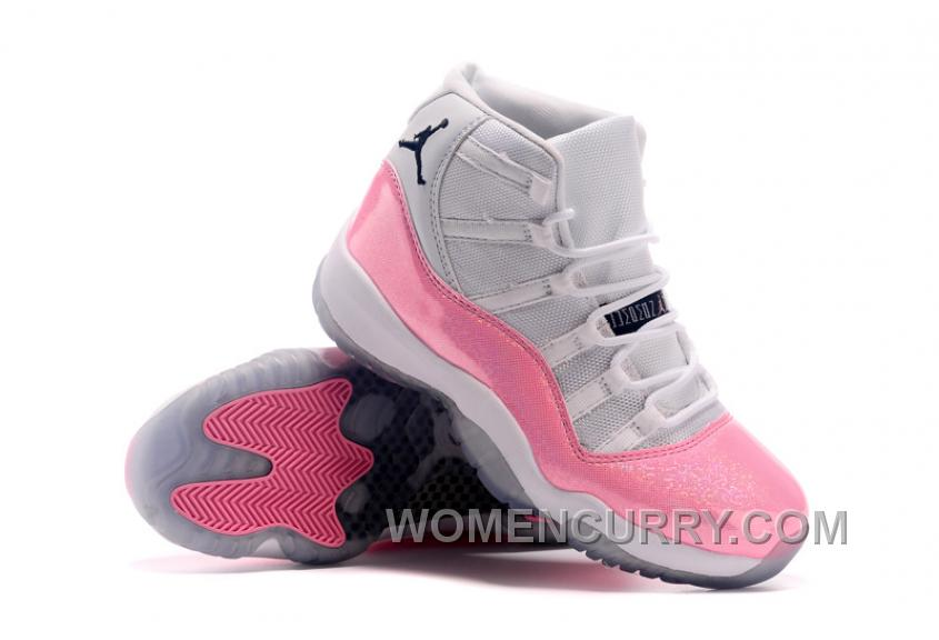 2017 Girls Air Jordan 11 White Pink Colorful Print For Sale Online