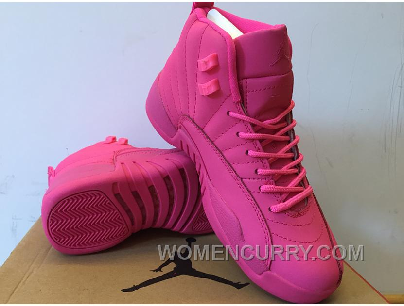 6f33e10bf89330 Girls Air Jordan 12 All Pink Shoes For Sale Authentic 23it8Kp