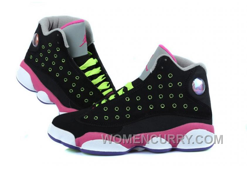 Girls Air Jordan 13 BlackPinkVenom Green For Sale Lastest RFdrDS