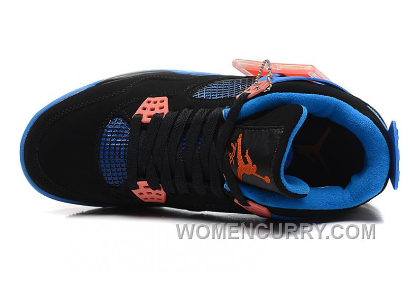 "4a399d7cb7f994 Air Jordan 4 ""Cavs"" Black Orange Blaze-Old Royal For Sale Authentic ..."