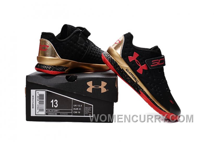Under Armour Kids Curry Shoes Black Red 2016 New Design Christmas Gift UA Kids Shoes For Fall