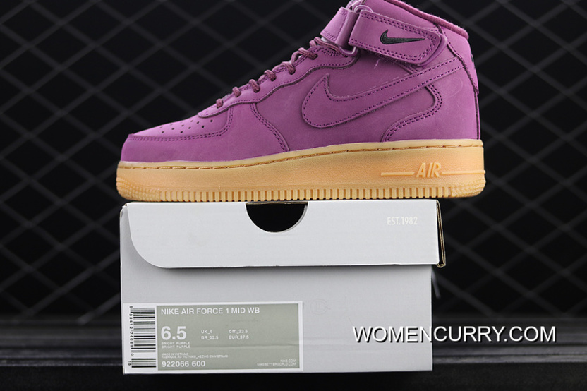Lastest Nike Air Force 1 Gs Af 922066-600 Wheat Purple Casual Sneaker d252f4559
