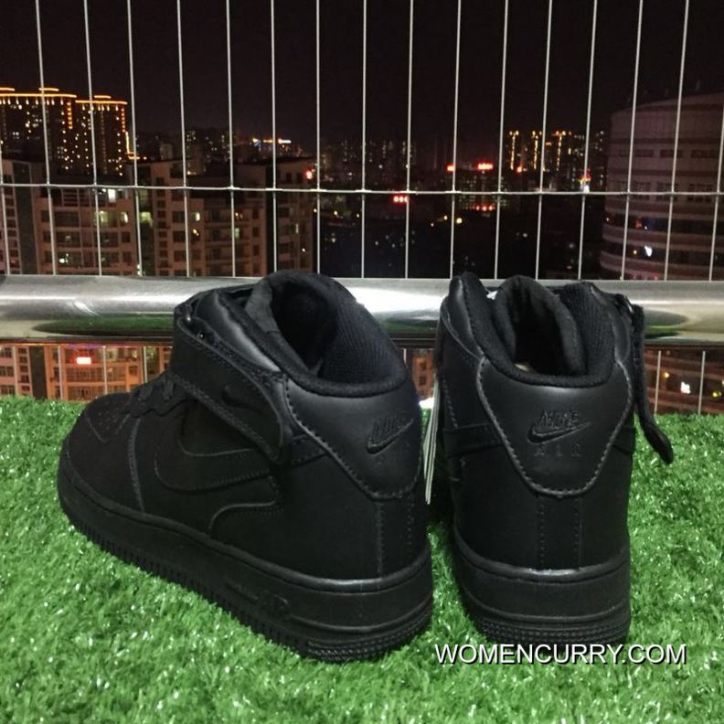 Nike Air Force One 1 Mid 07 Af1 Pure Black Top Sneakers. 315123-001 ... 3f1943a76