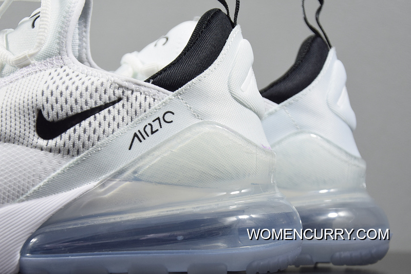 new arrival 49ebc 14657 Nike Air Max 270 Pure White And Black Women And Men Casual Sport Zoom  Running Shoes