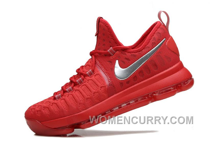 9050129f91c5 Nike KD 9 Sport Red Silver Mens Basketball Shoes Super Deals BBt38 ...