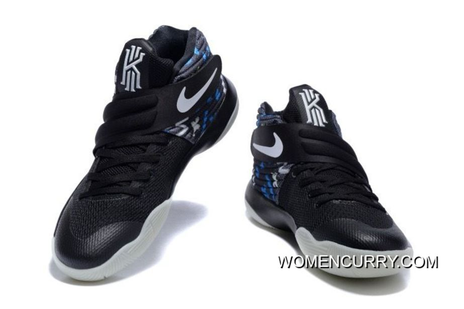 factory authentic 0e0a2 37e23 Nike Kyrie 2 Black White/Blue Men's Basketball Shoes New Style
