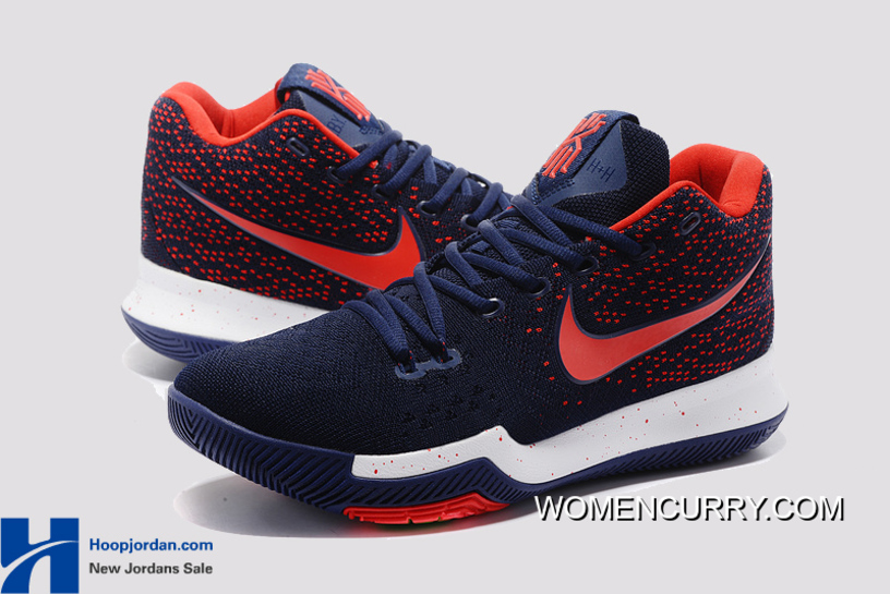 1f8f888652ee Nike Kyrie 3 Dark Blue Red – White Blue PE Men s Basketball Shoes New  Release