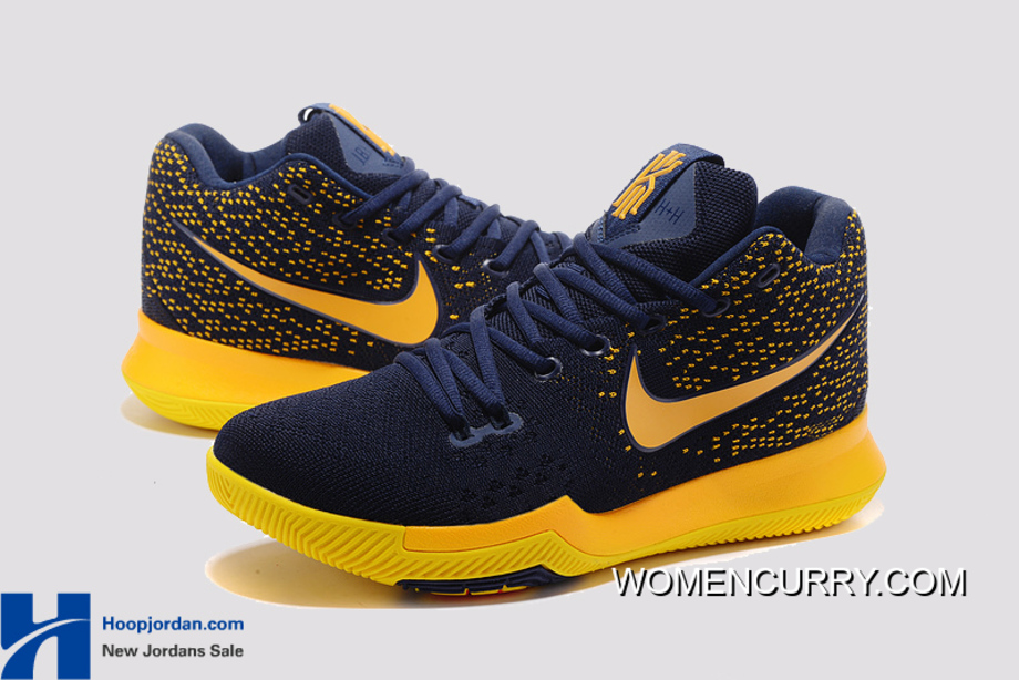 size 40 4f968 77c58 Nike Kyrie 3 Cavs Deep Blue Yellow PE Men s Basketball Shoes Best