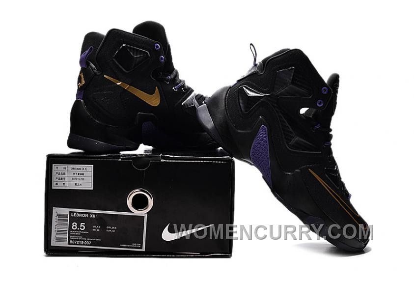 brand new 3e457 88015 Online Cheap Nike LeBron 13 Black And Purple Gold On Sale
