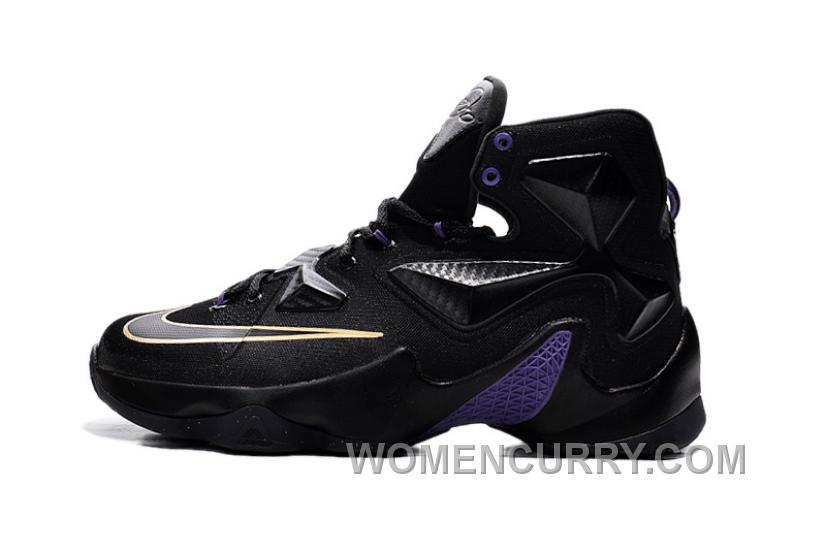 brand new 3d795 d6986 Online Cheap Nike LeBron 13 Black And Purple Gold On Sale