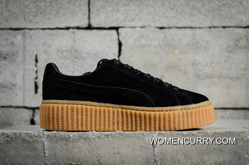 detailed look 52bb8 bb041 New Style Channel Authentic Puma Rihanna Original Suede Creepers-Flatform  Shoes Black Brown In 361005-02
