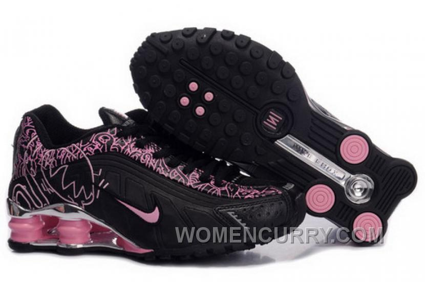 Men's Nike Shox R4 Cartoon Shoes Black/Pink/Silver New Release