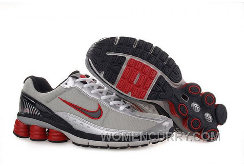 Men's Nike Shox R6 Shoes Grey/Silver/Black/Red Lastest