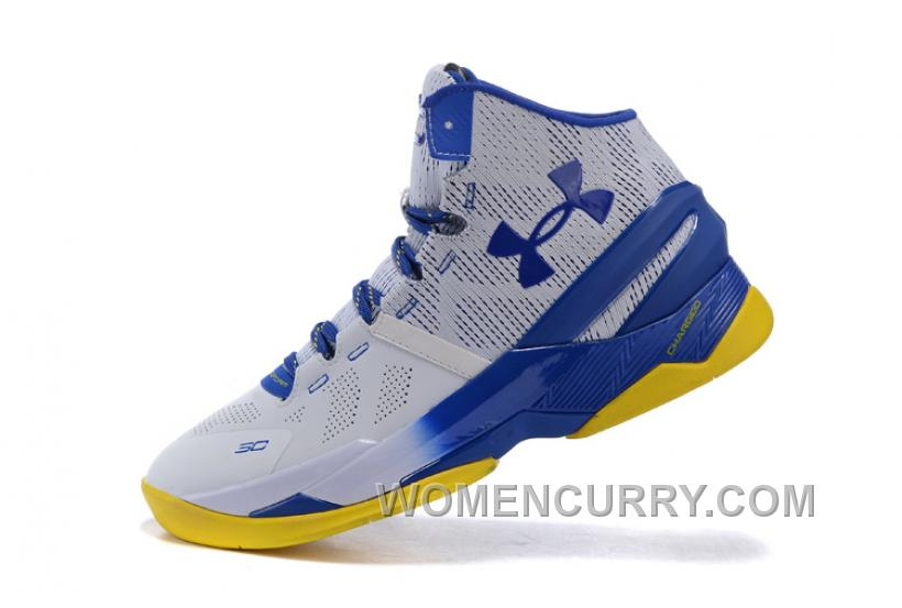 Under Armour Curry 2 Dub Nation Home White Blue Yellow Shoes For