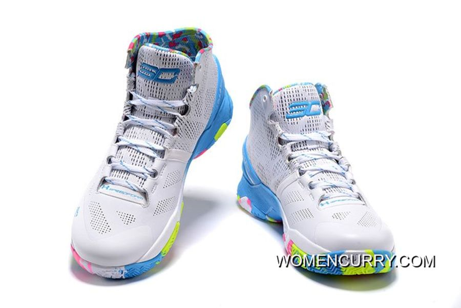 new styles e5a03 0708d 'Surprise Party' Under Armour Curry 2 White/Mojo Pink-Electric Blue  Authentic