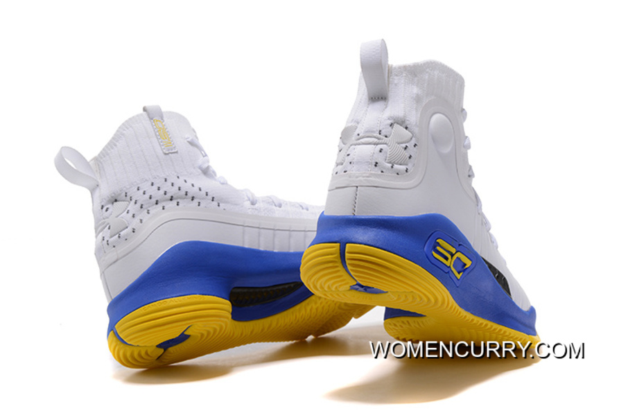 f2b940139d05 Under Armour Curry 4 Basketball Shoes White Blue Yellow Best