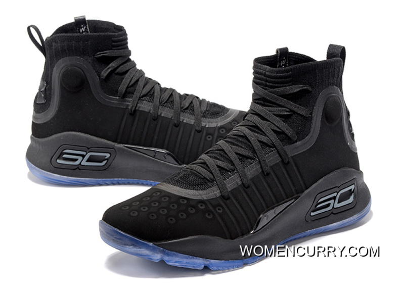 98c91098f0a6 Under Armour Curry 4 Basketball Shoes Black Blue For Sale
