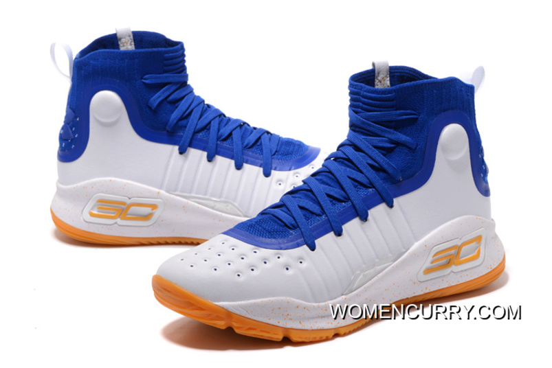 Under Armour Curry 4 Basketball Shoes Blue White Orange New Release ... 89e7a45479a6